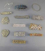 Eleven Various Crystal Bracelets plus a large crystal openwork clasp (some missing stones)