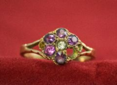 Antique 15ct Gold Set Amethyst Cluster Ring. Flower head Setting and Marked 15ct. c.