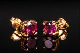 Rhodolite Garnet Stud Earrings, round cu