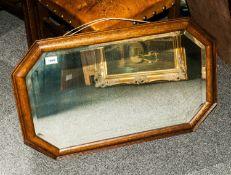 1920's Oak Framed Mahogany Mirror, with