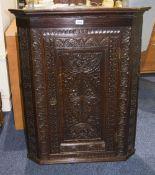 19thC Carved Oak Hanging Corner Cupboard