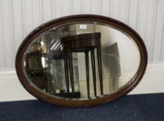 Early 20thC Mahogany Framed Oval Mirror,