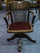 Early 20thC Oak Office Chair.