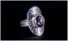 Northern Lights Mystic Topaz Ring, bezel