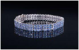 WITHDRAWN AA Tanzanite Three Row Bracele