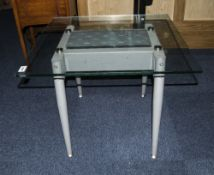 Brushed Steel Glass Topped Coffee Table