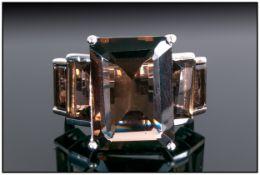 Smoky Quartz Graduated Octagon Cut Ring,