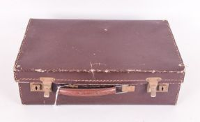 Small Dark Brown Leather Suitcase.