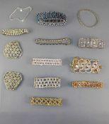 Eleven Various Crystal Bracelets plus a