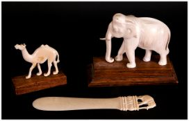 Vintage Ivory Elephant Figure on Stand.
