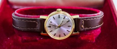 Ladies - Omega 9ct Gold Cased Mechanical Wind Wrist Watch, Fitted to an Omega Leather Strap.