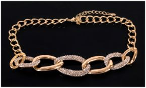 Swarovski Style Crystal Oversized Chain Link Necklace, with graduated, oversized, oval chain links