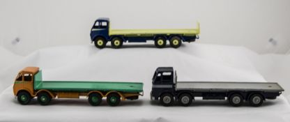 Three Dinky Diecast Models No 502 Foden Flat Trucks,