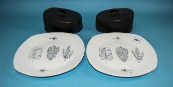 Midwinter 'Nature Study' Fashion Shape Butter/Cheese Dishes.
