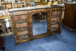 19thC Walnut Credenza With Inlay Work Throughout, Central Mirrored Door With Silk Lined Interior
