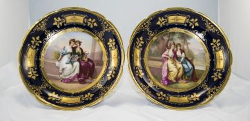 Royal Vienna Very Fine Pair of High Comports, Each Signed, Hand Painted and Hand Gilded. Signed