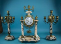 French Late 19th Century Marque Deposee Marble and Brass Clock Garniture Set with 8 Day Striking