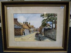 Frank Walmsley Garstang Artist - Titled ' Old Church Street ' Garstang - Watercolour. c.1892. Signed