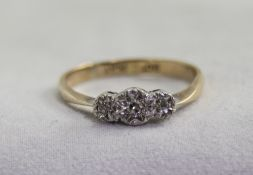 A 9ct Gold and Platinum Set 3 Stone Diamond Ring.