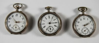 Swiss - Keyless Ladies Silver Fob Watches, with White Porcelain Dials and Ornate Gold Hands,