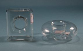 Small Clear Glass Vases, 1 x donut shape, 1 x square shape
