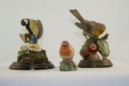 Royal Worcester Bird Figure ' Robin ' 2.75 Inches High + Two Country Artist Bird Figures by