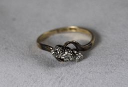 18ct Gold and Platinum 3 Stone Diamond Ring. Diamonds of Good Colour. Est Weight 30 Pts.