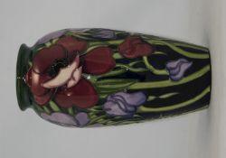 Moorcroft Large Tubelined ' Anemone ' Tribute Vase. Designer Emma Bossons, Shape 393-10. Issued as