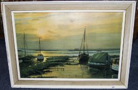 Framed Sunset Harbour Print 'Signed W F Burton 1968'.