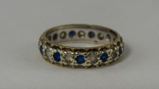 9ct Gold and Silver Sapphire and Diamond Set Full Eternity Ring. Fully Hallmarked, Small Size.
