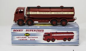 Dinky Diecast No 943 Leyland Octopus Tanker ''Esso'' - red cab, chassis, back and Supertoy hubs,