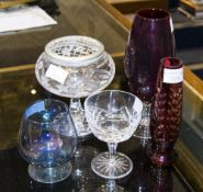 Mixed Collection Of Glass Comprising Webb Corbett Ruby Vase, Blue Lustre Wine Glass, Swedish Ryd