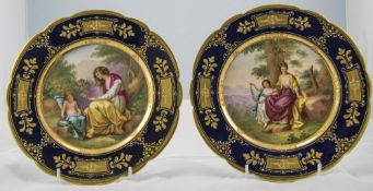 Royal Vienna Very Fine Pair of Signed, Hand Painted and Hand Gilded Cabinet Plates. Signed Riemer.