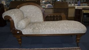 Victorian Walnut Framed Chaise Longue, Re-Upholstered In Beige With Cushion, Raised On Short