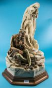 Large Capodimonte Italian Porcelain Sculpture Limited Edition Numbered 107, Michelangelo's Dilemma