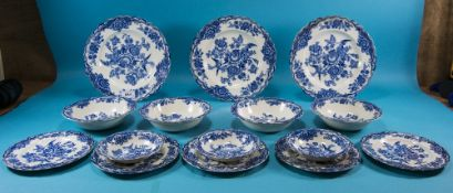 Crown Ducal 'Bristol' Part Dinner Service (18) Pieces in total, blue colourway. Circa 1954.