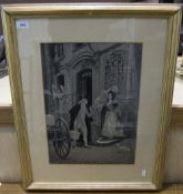Late 19th/Early 20thC Stevengraph In Sepia Depicting Figures In A Courtyard, 17x12 Inches