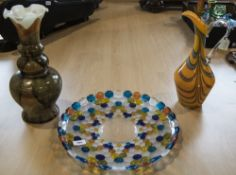 3 Pieces of Decorative Glass, Including 2 Vases, Large Glass Dish.