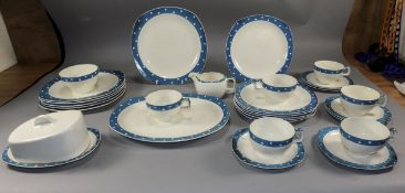 Midwinter Stylecraft Turquoise Domino 29 Piece Dinner Service. Including  6 x 9 inch dinner