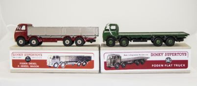 Two Dinky Diecast Mopdels No No 501 Foden Diesel 8-Wheel Wagon & No 502 Foden Flat Truck, Both