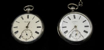 Victorian Silver Open Faced Pocket Watch with White Porcelain Dial and Black Numerals.