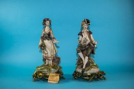 Pair Of Capodimonte Figures, Depicting A Young Woman With Basket Of Flowers And Youg Man With
