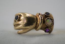 A Vintage and Unusual 9ct Gold Dress Ring, In The Form of a Hand, Set with Opal,