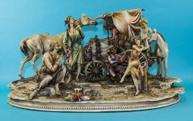 Large Capodimonte Figure Group Depicting A Travelling Caravan With Figures Dancing  20 x 13 Inches.