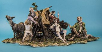 Large Capodimonte Figure Group Marked I.P.A usmate (Italy) Depicting A Caravan With Figures Around