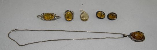 A Vintage Collection of Amber - Silver Set Jewellery.