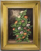 W. Massaro 20th Century Artist - Still Life Study of Flowers, Oil on Board. Signed. Mounted and