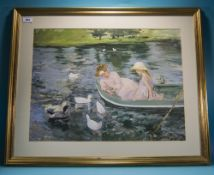 Large Framed Print After Mary Cassatt Titled Summertime