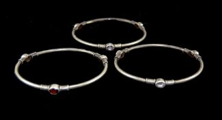 A Vintage Set of 3 Silver Bangles, All Set With Amethyst and Marked Silver.