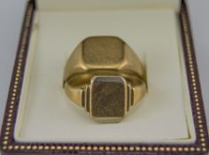 Gents 9ct Gold Signet Rings ( 2 ) In Total. Fully Hallmarked, 12.8 grams. Good Condition.